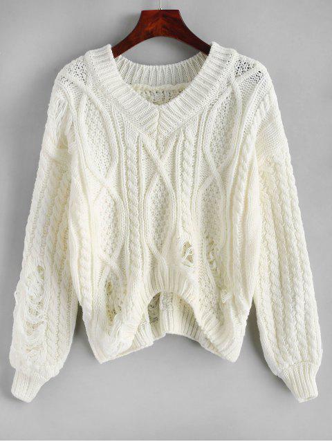 Cuello en V Cable de punto grueso apenada suéter - Blanco Talla única Mobile