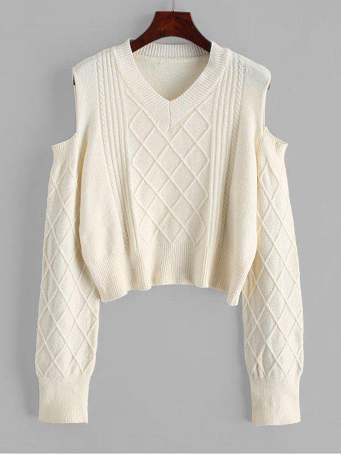 buy V Neck Cable Knit Cold Shoulder Sweater - WARM WHITE ONE SIZE Mobile
