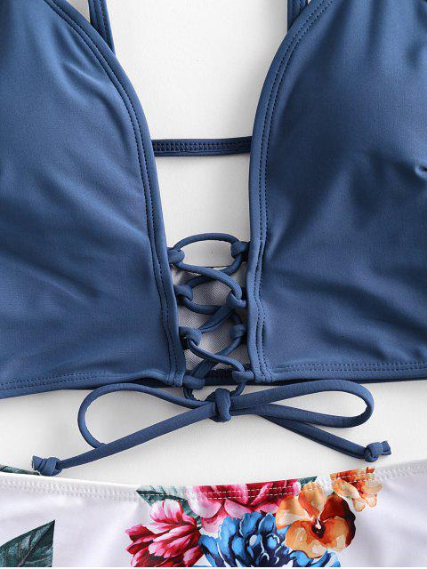 ZAFUL cordones de la hoja floral del traje de baño de Tankini - Lapislázuli M Mobile