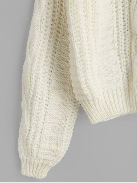 sale Solid Crew Neck Raglan Sleeve Cable Knit Sweater - WHITE ONE SIZE Mobile
