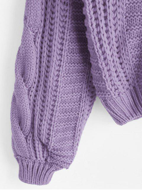 women's Solid Crew Neck Raglan Sleeve Cable Knit Sweater - PURPLE ONE SIZE Mobile