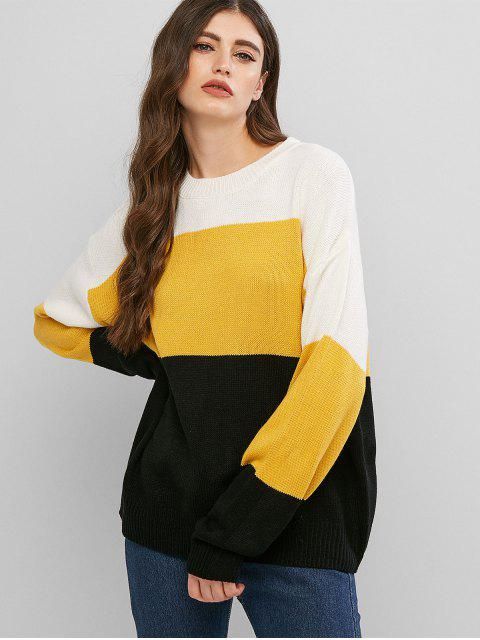 ladies Colorblock Loose Crew Neck Sweater - BRIGHT YELLOW ONE SIZE Mobile