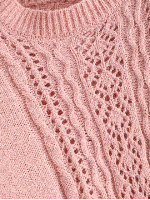 fancy Open Knit Solid Drop Shoulder Sweater - PINK ONE SIZE Mobile