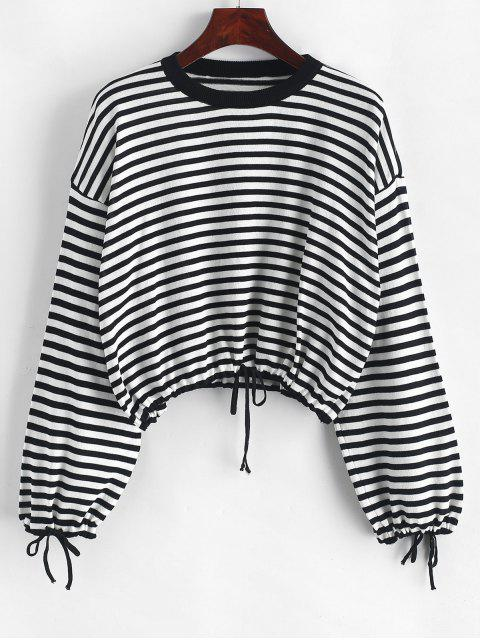 ladies Drawstring Crew Neck Contrast Stripes Sweater - BLACK ONE SIZE Mobile