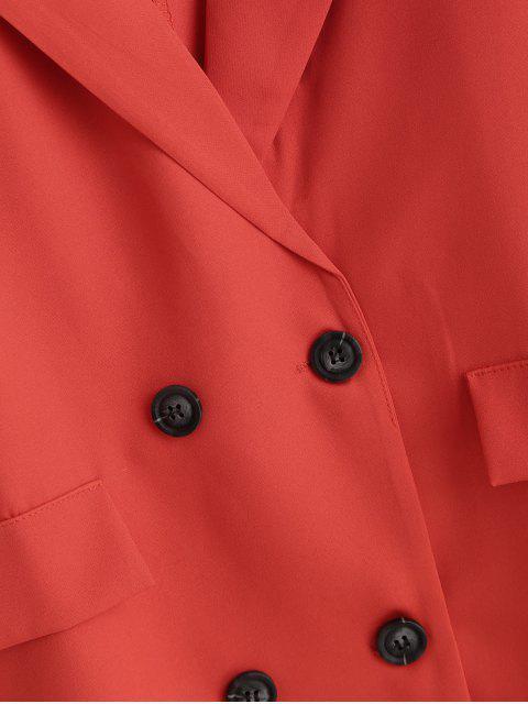 仿蓋口袋固體雙排扣西裝外套 - 紅 2XL Mobile