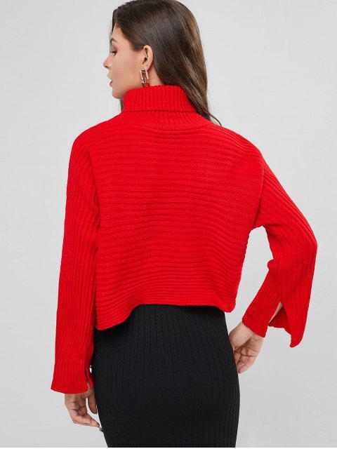 Einfarbiger Crop Pullover mit Rollkragen und Schlitz - Rot Eine Größe Mobile