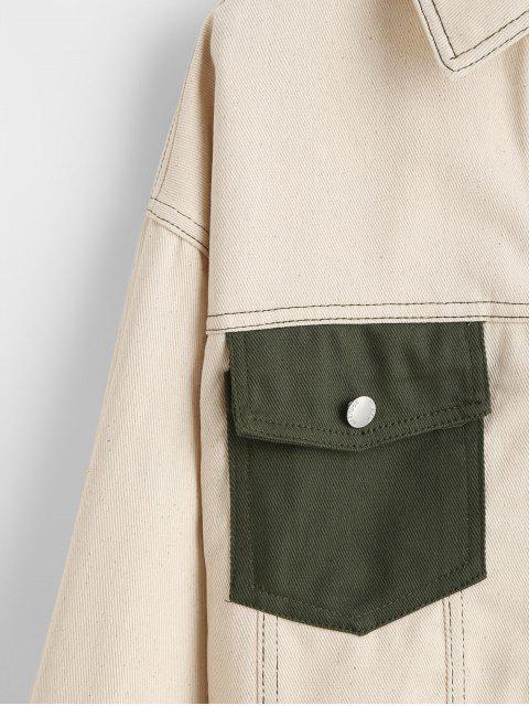 Botón encima de la aleta del contraste bolsillos de la camisa de la chaqueta - Beige L Mobile