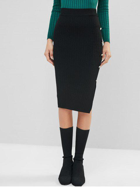 人造珍珠鈕扣縫針織Bodycon鉛筆裙 - 黑色 One Size Mobile