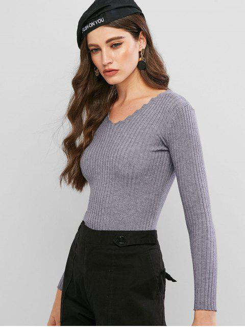 V領修身羅紋毛衣 - 輕的板岩灰色 One Size Mobile