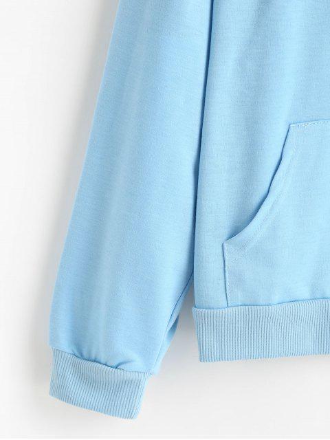 抽繩前口袋八卦圖形連帽衫 - 天藍天 M Mobile