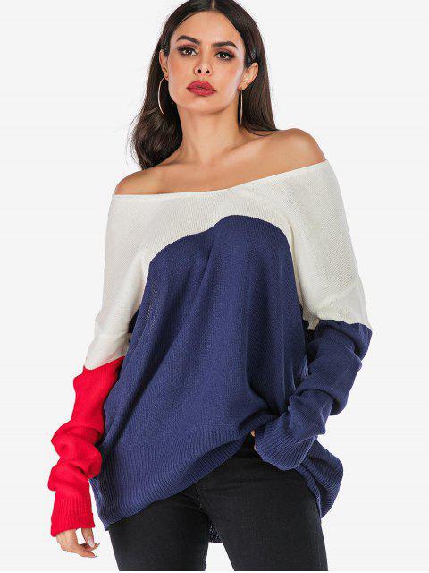 Colorblock Tropfen Schulter Longline Sweater - Multi L Mobile