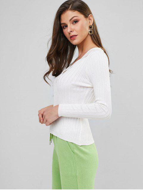 online Turndown Collar Plain Ribbed Slim Sweater - WHITE ONE SIZE Mobile