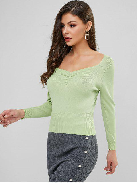new Sweetheart Neck Ruched Plain Knit Sweater - GREEN ONE SIZE Mobile