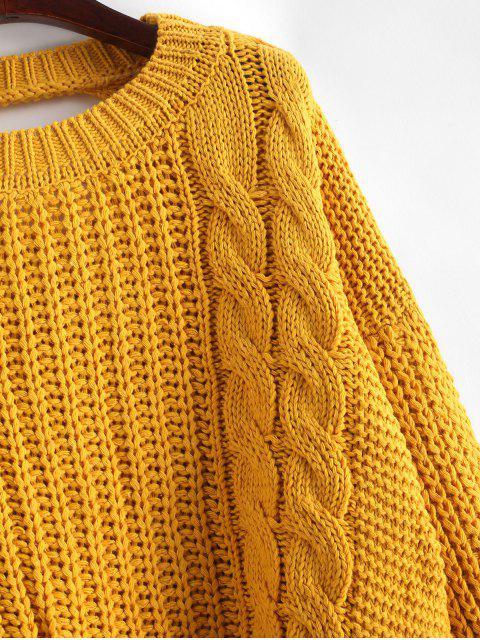 Tropfen Schulter Zopfmuster Rückenausschnitt Pullover - Gelb Eine Größe Mobile