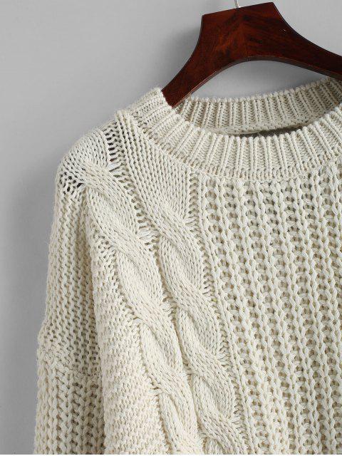 Tropfen Schulter Zopfmuster Rückenausschnitt Pullover - Warmweiß Eine Größe Mobile