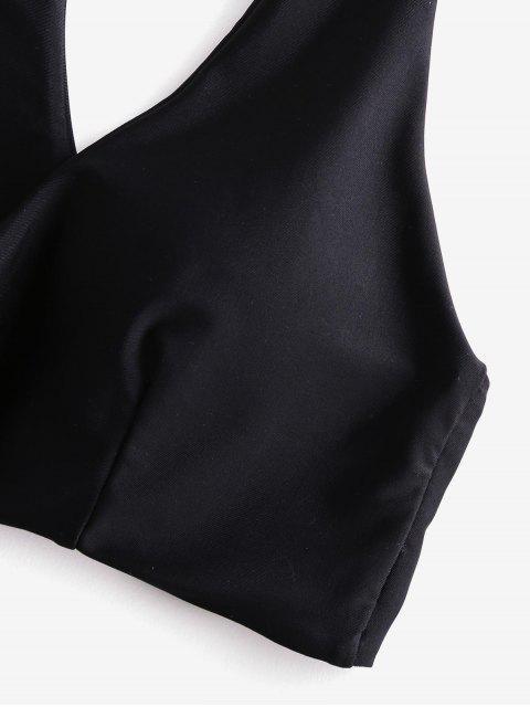 buy ZAFUL Tropical Leaf Knotted Racerback Bikini Swimsuit - BLACK M Mobile