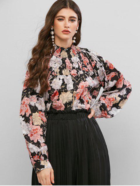 sale Floral Print Mock Neck Smocked Blouse - MULTI M Mobile