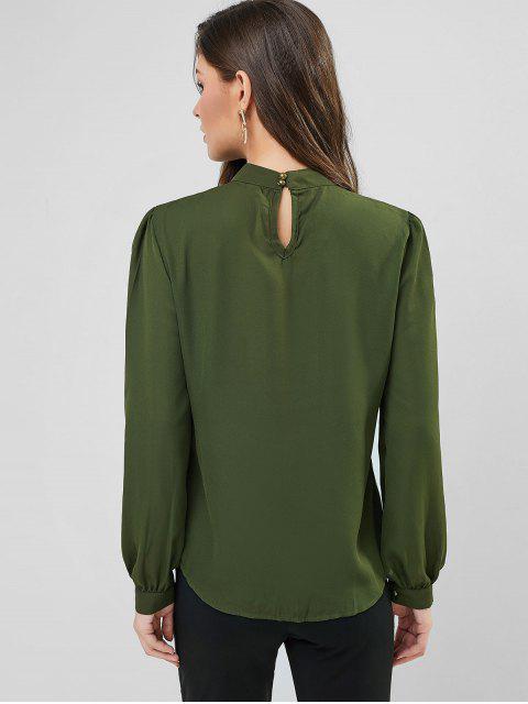 women Plain Keyhole Back Crew Neck Pleated Blouse - ARMY GREEN XL Mobile
