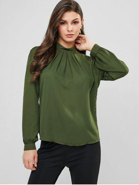 outfit Plain Keyhole Back Crew Neck Pleated Blouse - ARMY GREEN S Mobile