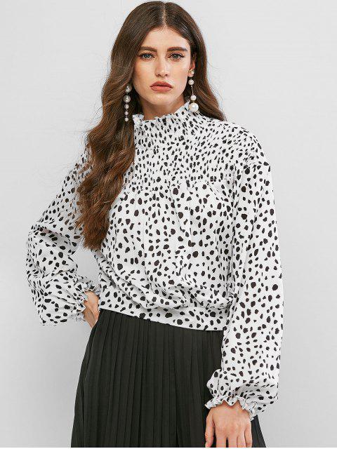 outfits Dalmatian Dot Smocked Mock Neck Blouse - MULTI M Mobile