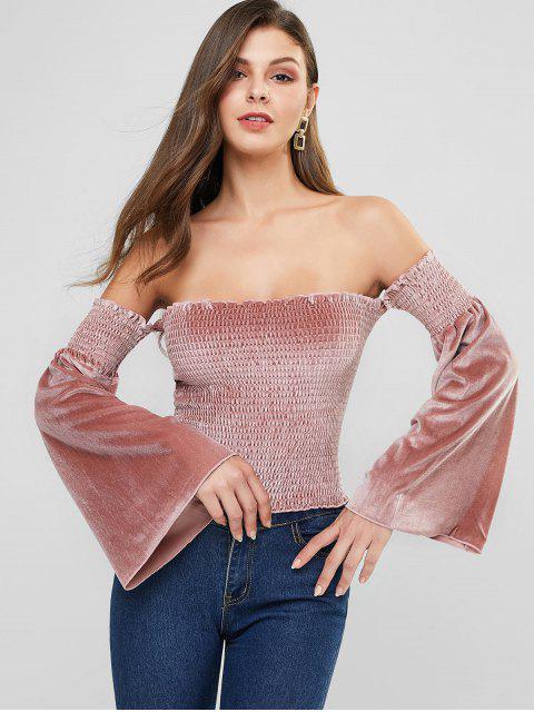 buy Velvet Flare Sleeve Smocked Off Shoulder Top - ROSE M Mobile