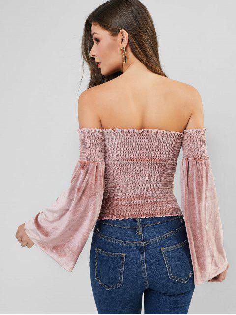 buy Velvet Flare Sleeve Smocked Off Shoulder Top - ROSE L Mobile
