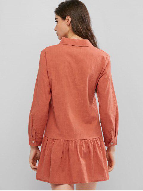 women's Drop Waist Shirt Dress - ORANGE S Mobile