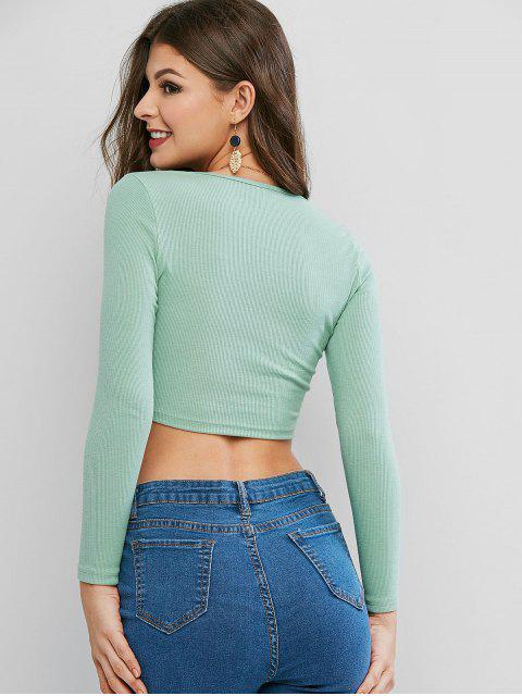 women Square Neck Knitted Crop Top - LIGHT GREEN S Mobile