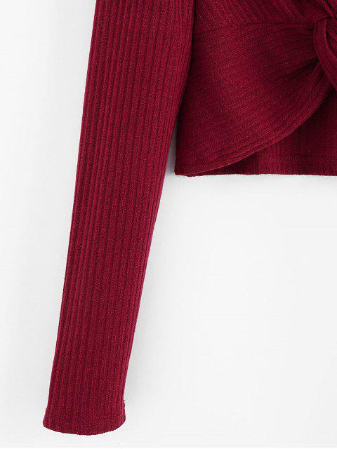 hot ZAFUL Plunge Twist-front Crop Top - RED WINE L Mobile