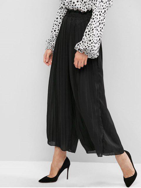 Pantalones Deportivos Plisados Pierna Ancha - Negro L Mobile
