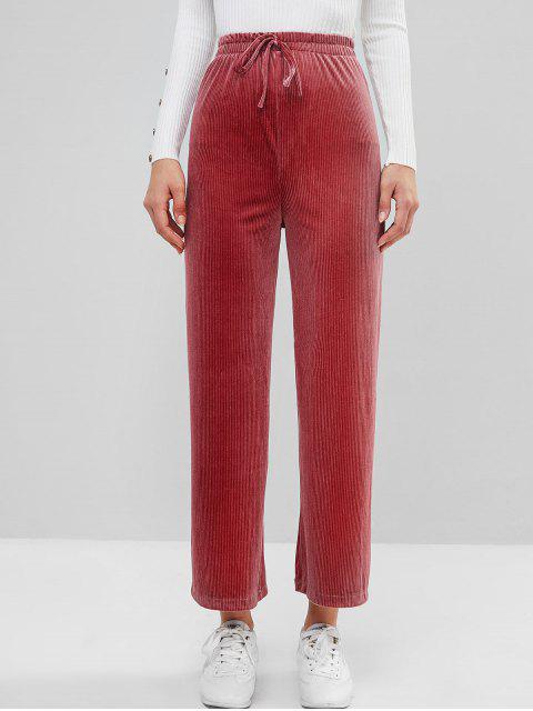 Pantalones Terciopelo Pierna Ancha Diseño Lazo - Lápiz Labial Rosa Talla única Mobile