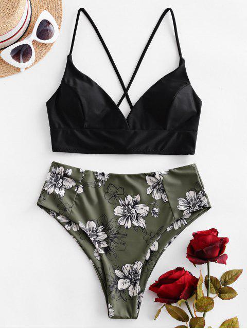 ZAFUL Maillot de Bain Bikini Fleuri Croisé à Taille Haute - Vert Camouflage XL Mobile