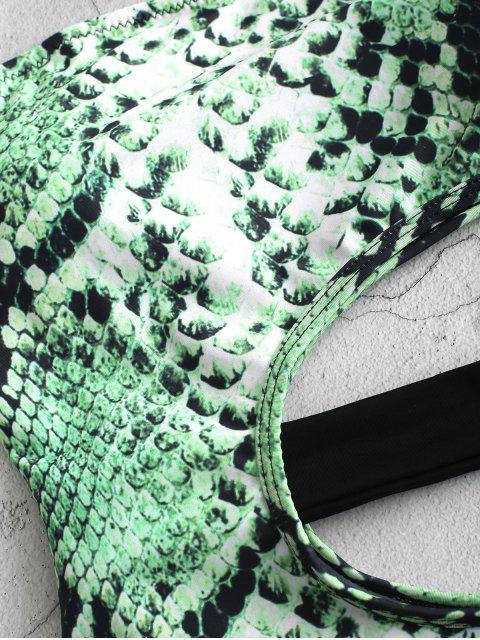 ZAFUL Maillot de Bain Animal Serpent Imprimé Découpé Une-Pièce - Vert Serpent XL Mobile