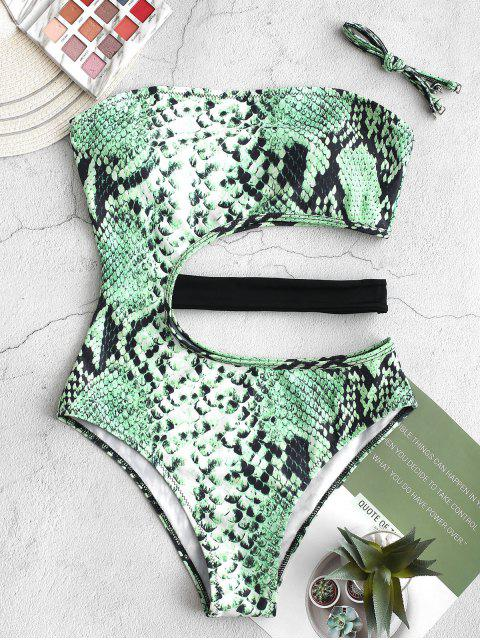 online ZAFUL Snake Animal Print Cutout One-piece Swimsuit - GREEN SNAKE S Mobile