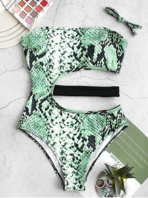 fashion ZAFUL Snake Animal Print Cutout One-piece Swimsuit - GREEN SNAKE L Mobile