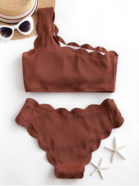 ladies ZAFUL Ribbed Scalloped One Shoulder Tankini Swimsuit - CHESTNUT M Mobile