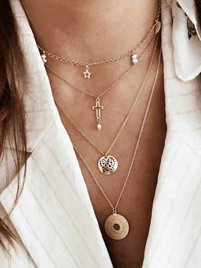 Cross Star Disc Multi-layer Chain Necklace - Gold