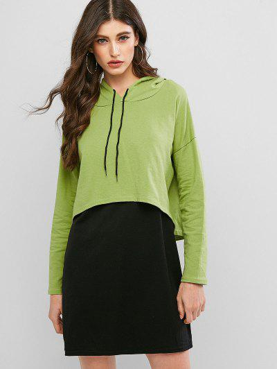 Drop Shoulder High Low Hoodie With Mini Tank Dress - Green S