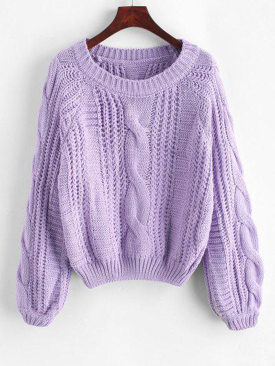 Cable Knit Solid Color Chunky Sweater - Purple L