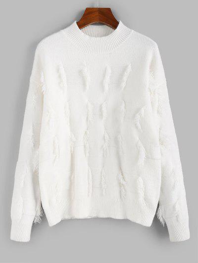 ZAFUL Frayed Detail Mock Neck Drop Shoulder Sweater - Crystal Cream M