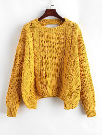 Drop Shoulder Cable Knit Cut Out Back Sweater - Yellow