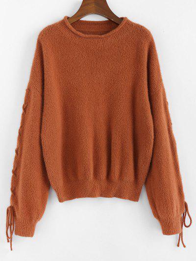 ZAFUL Lace Up Drop Shoulder Furry Sweater - Caramel M