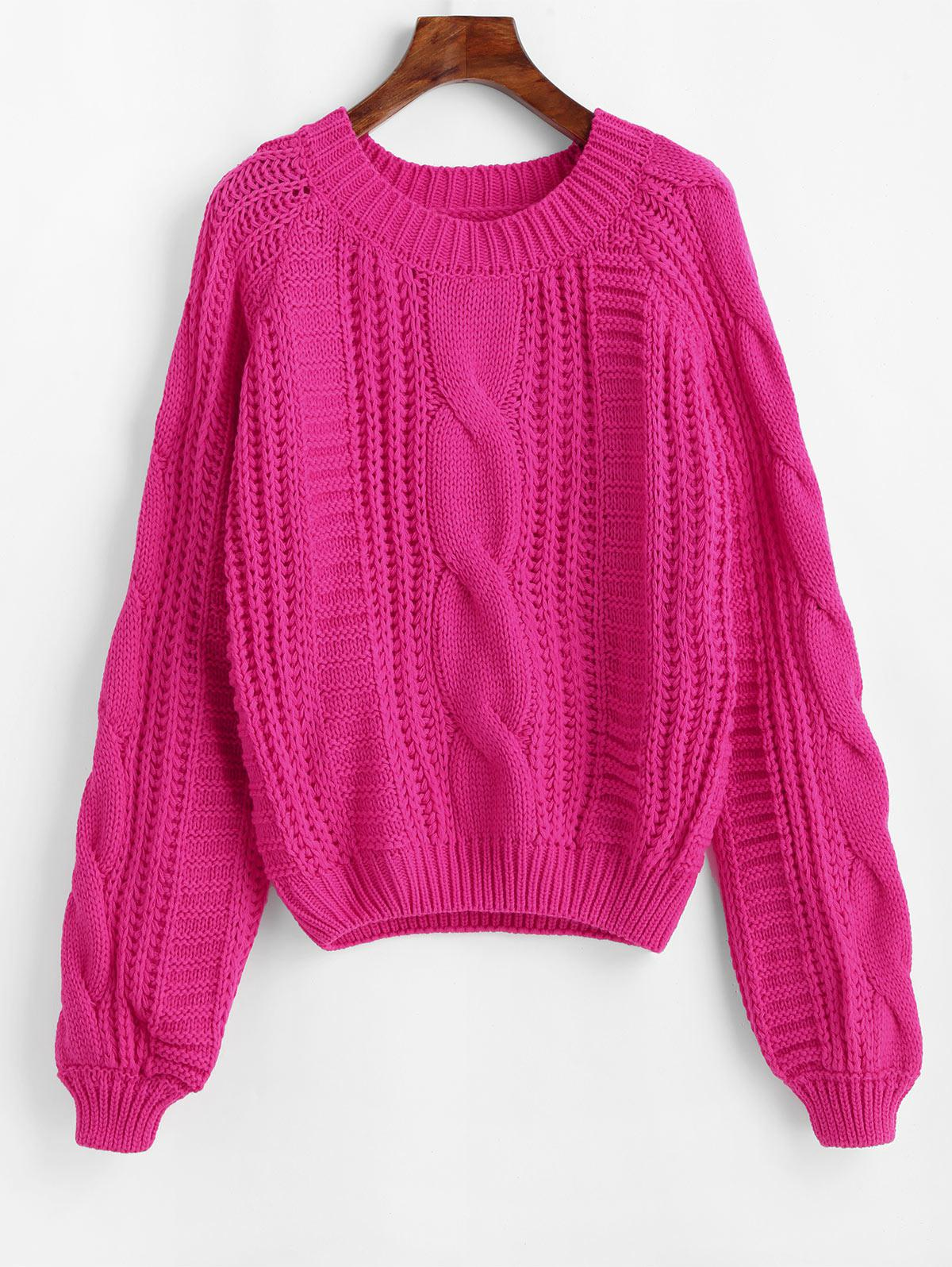 Solid Crew Neck Raglan Sleeve Cable Knit Sweater