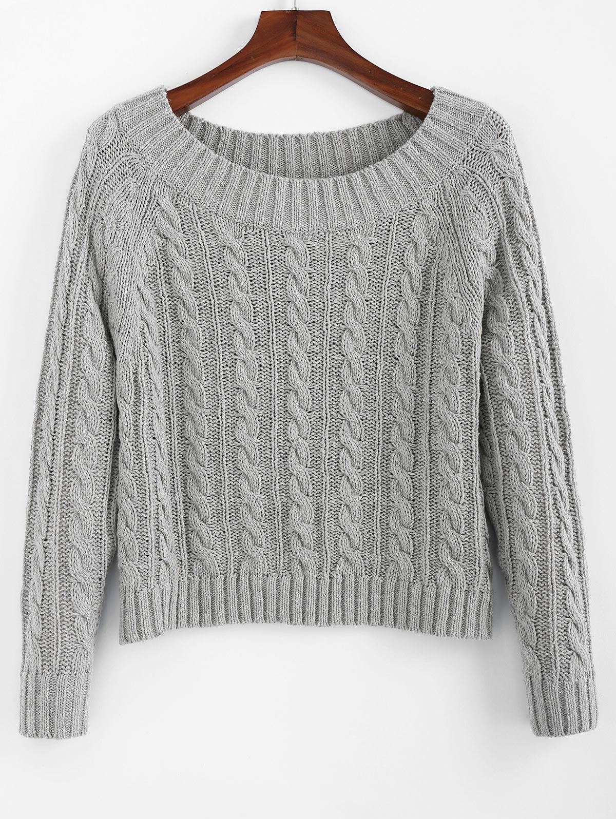 ZAFUL Cable Knit Off Shoulder Plain Sweater фото
