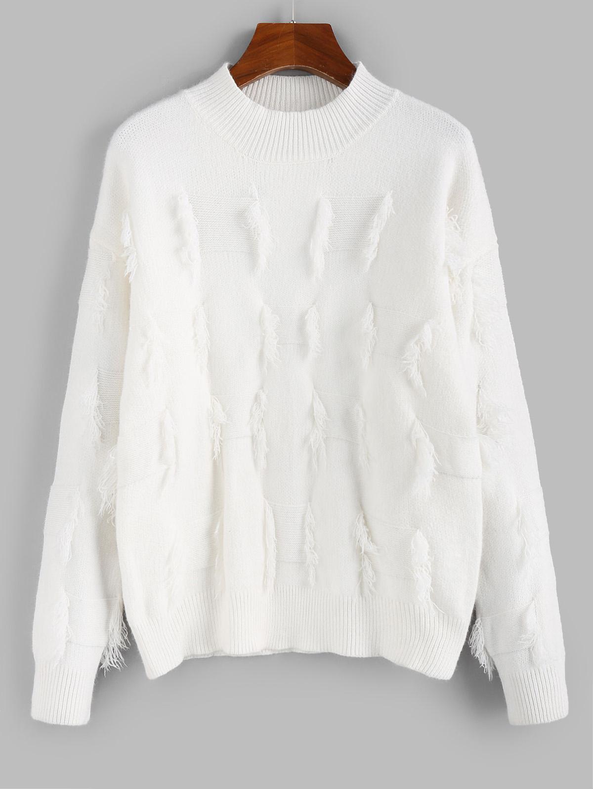 ZAFUL Frayed Detail Mock Neck Drop Shoulder Sweater