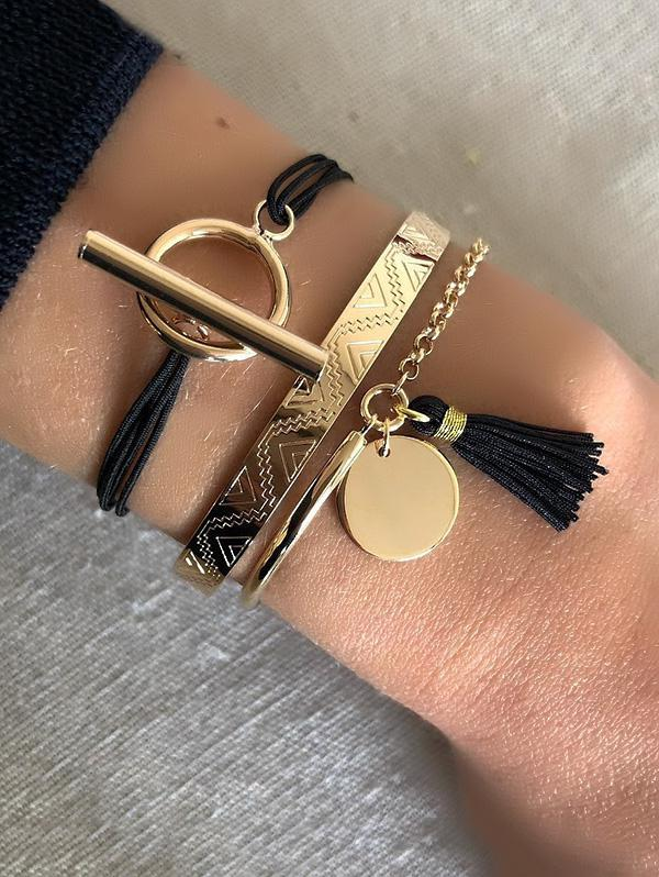 3 Piece Tassel Disc Rope Chain Bracelets Set, Multi-a