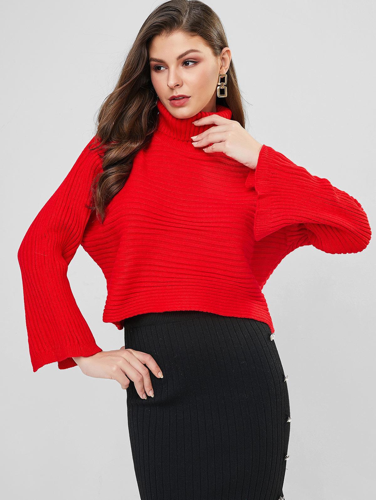 Plain Turtleneck Slit Sleeve Cropped Sweater