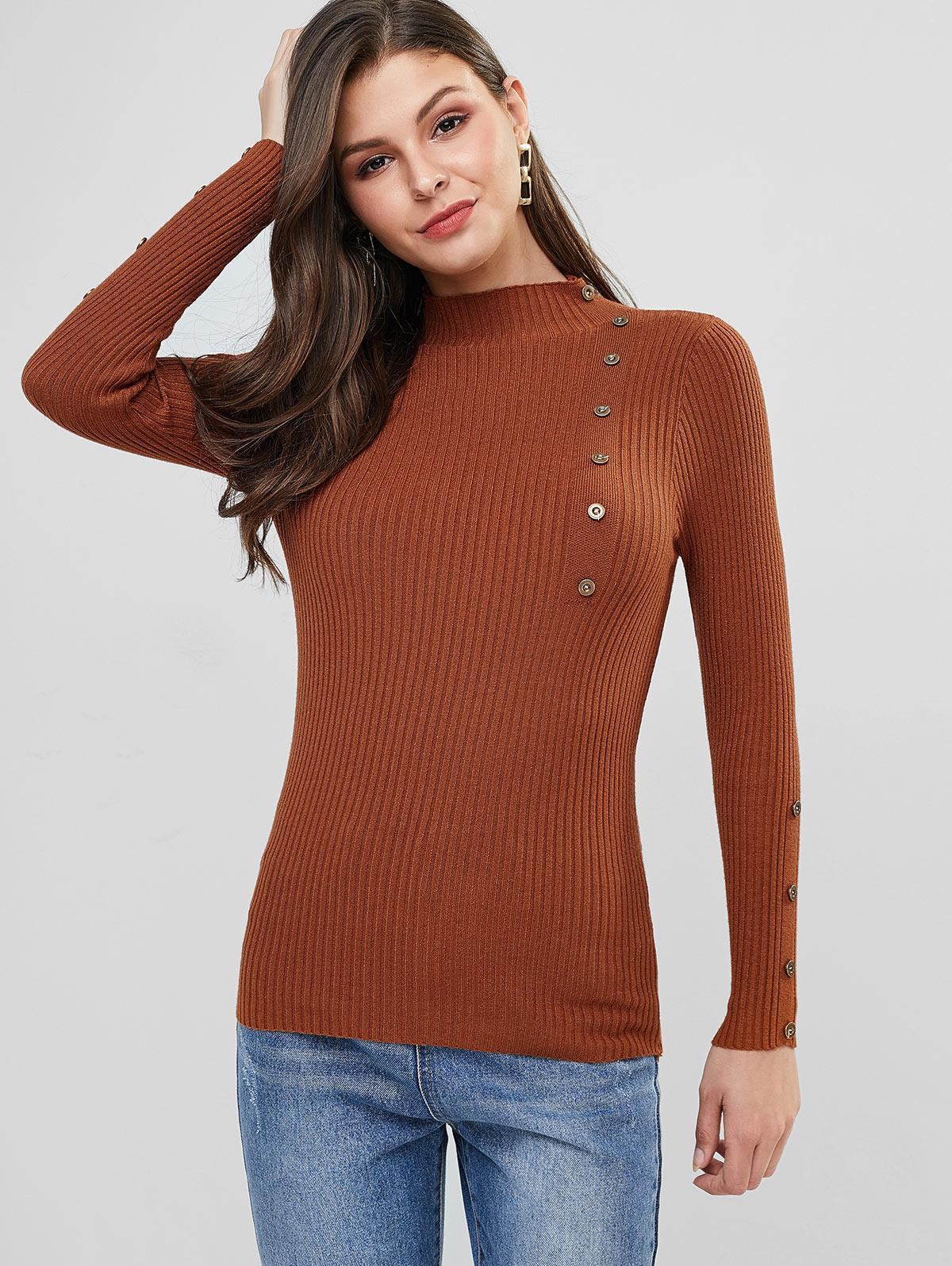 High Neck Ribbed Buttoned Slim Sweater
