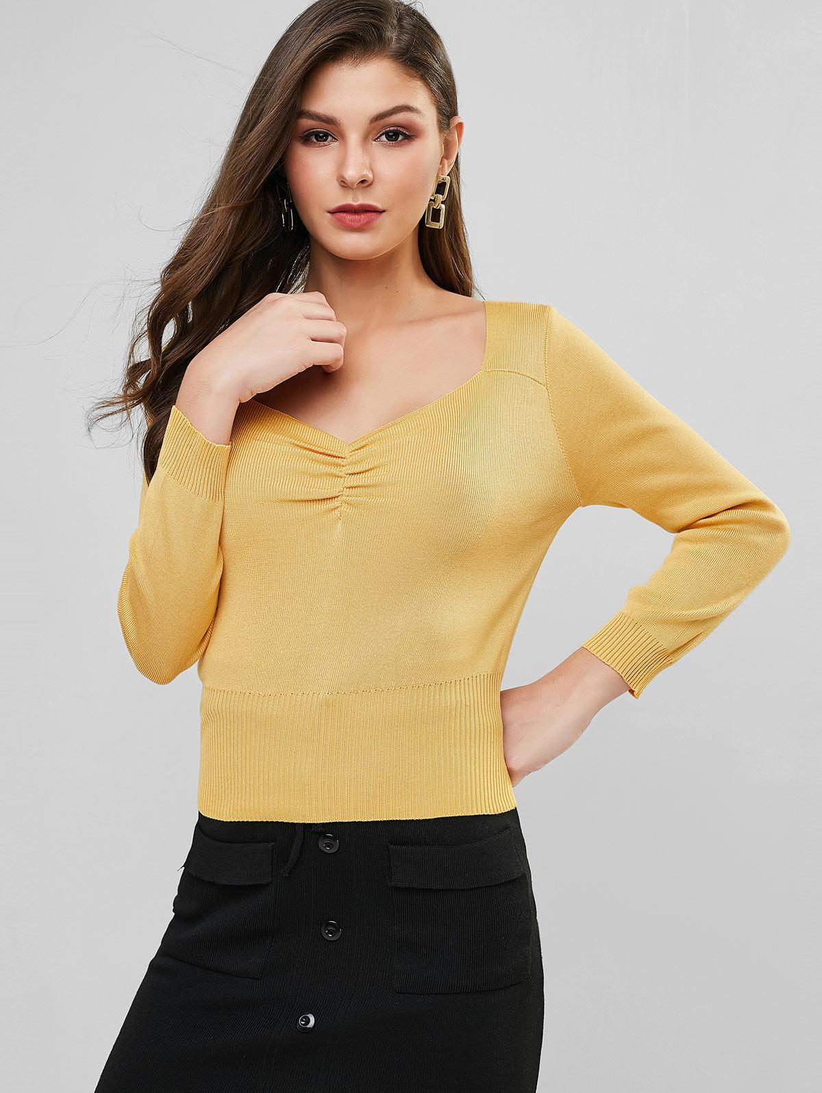 Sweetheart Neck Ruched Plain Knit Sweater