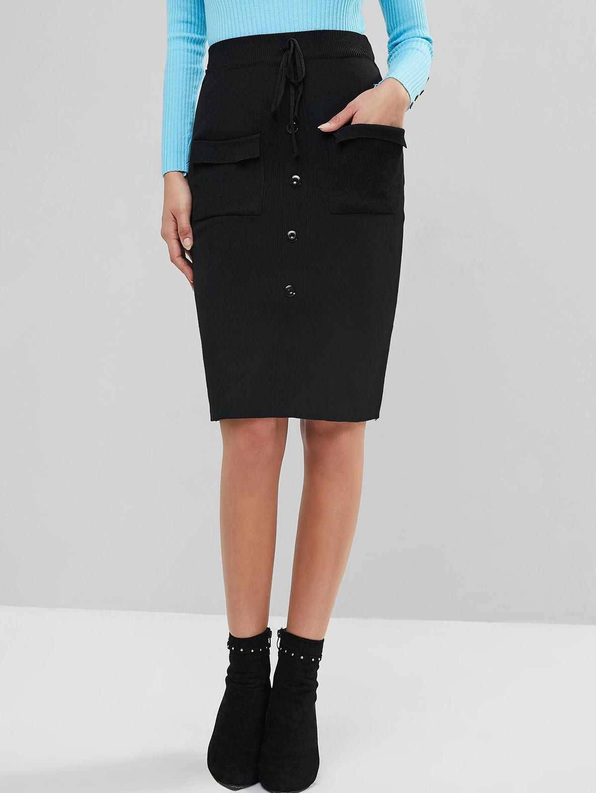 Pocket Buttoned Knitted Bodycon Skirt фото